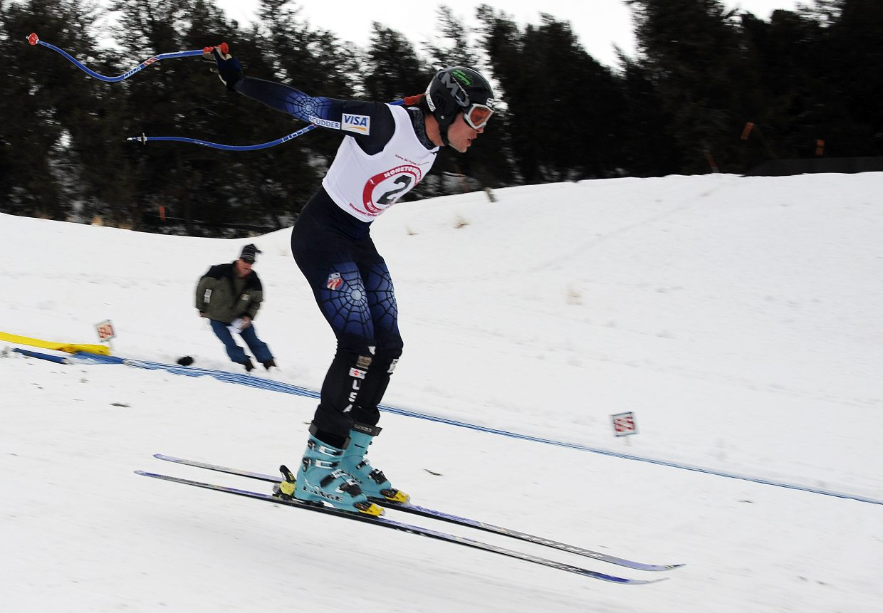 Steamboat's Marsh Gooding floats the final few feet on a jump Sunday in the Alpine Ski Flying Championship in Steamboat Springs.