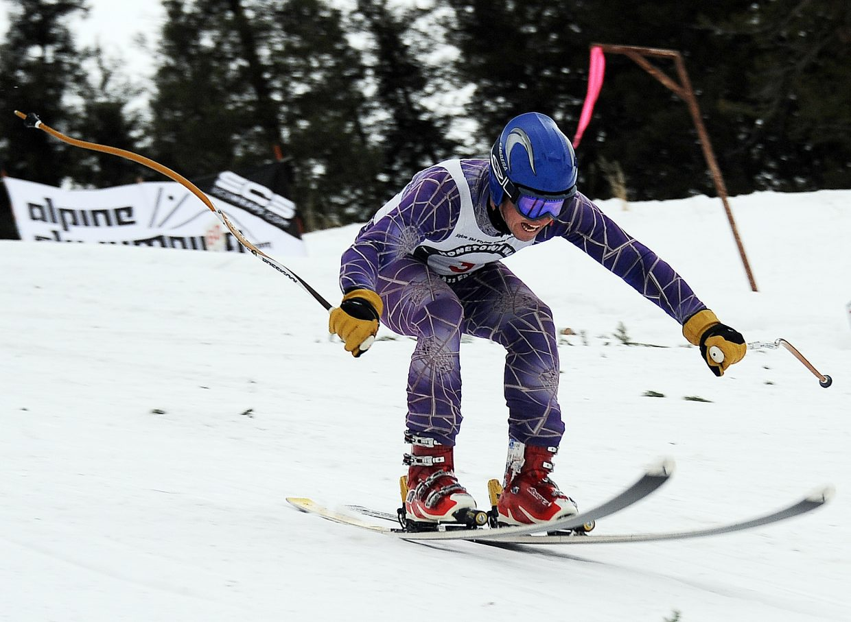 Erik Wilson touches down Sunday during the Alpine Ski Flying Championship in Steamboat Springs.
