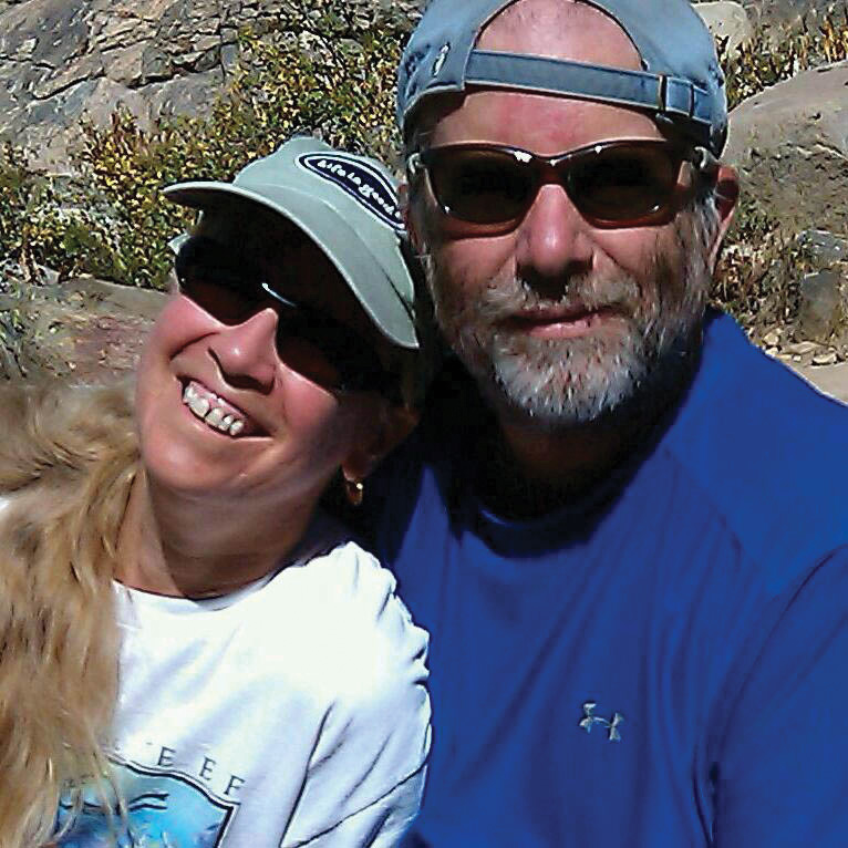 """Outdoor adventures are a life staple for Susana and John Field, caught in this photo by their son, Cliff, while hiking to the upper Fish Creek Falls last fall. """"John hates my smart phone,"""" Susana joked. The couple came to Steamboat Springs in 1991."""