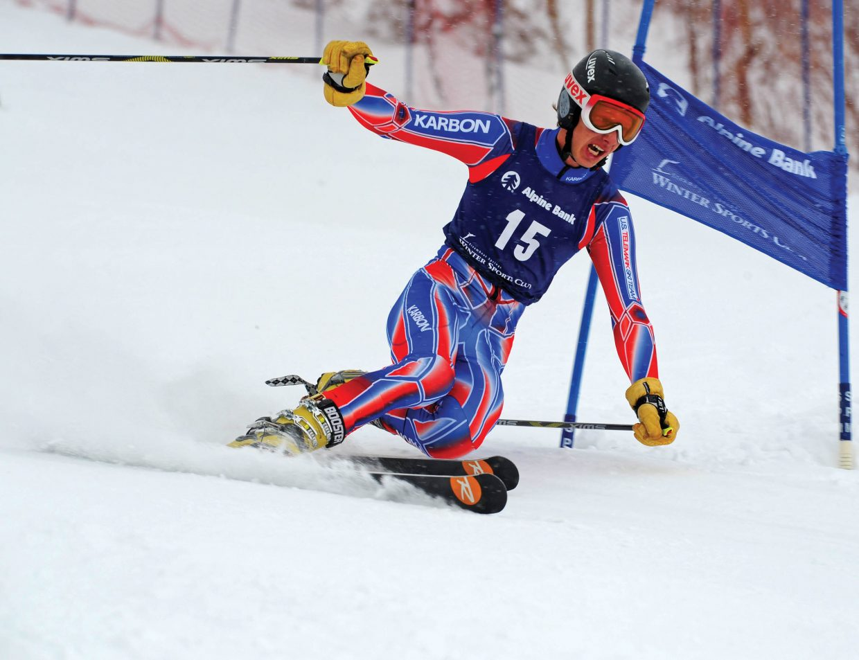 Hometown favorite Jeffrey Gay makes his way down the Sitz/See Me race course Monday during the first day of the Telemark World Cup in Steamboat Springs. Gay, who was representing the United States, placed 17th in the final results.