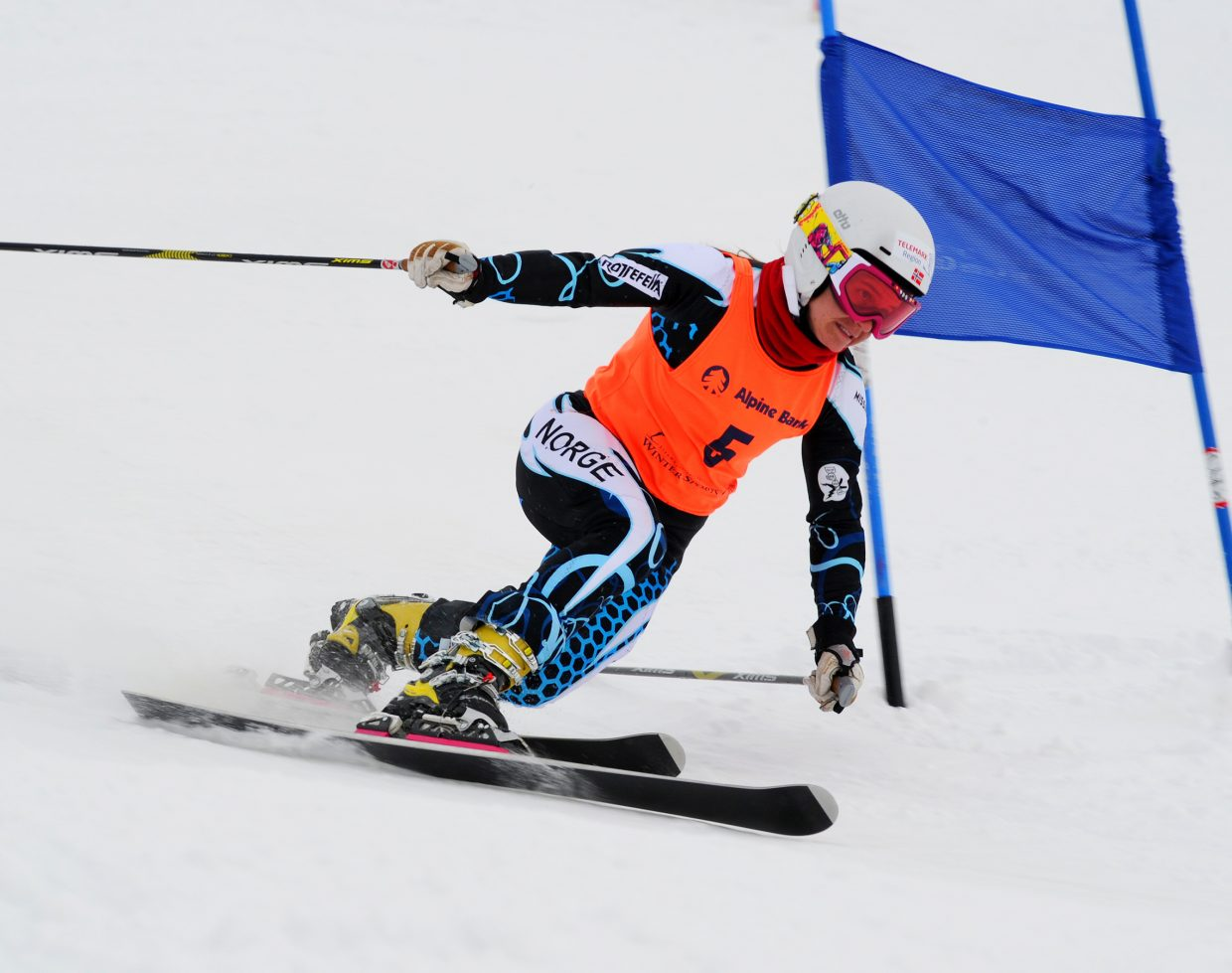Anne Marit Enger, of Switzerland, skis down the race course Monday for the Telemark World Cup event at Steamboat Ski Area.