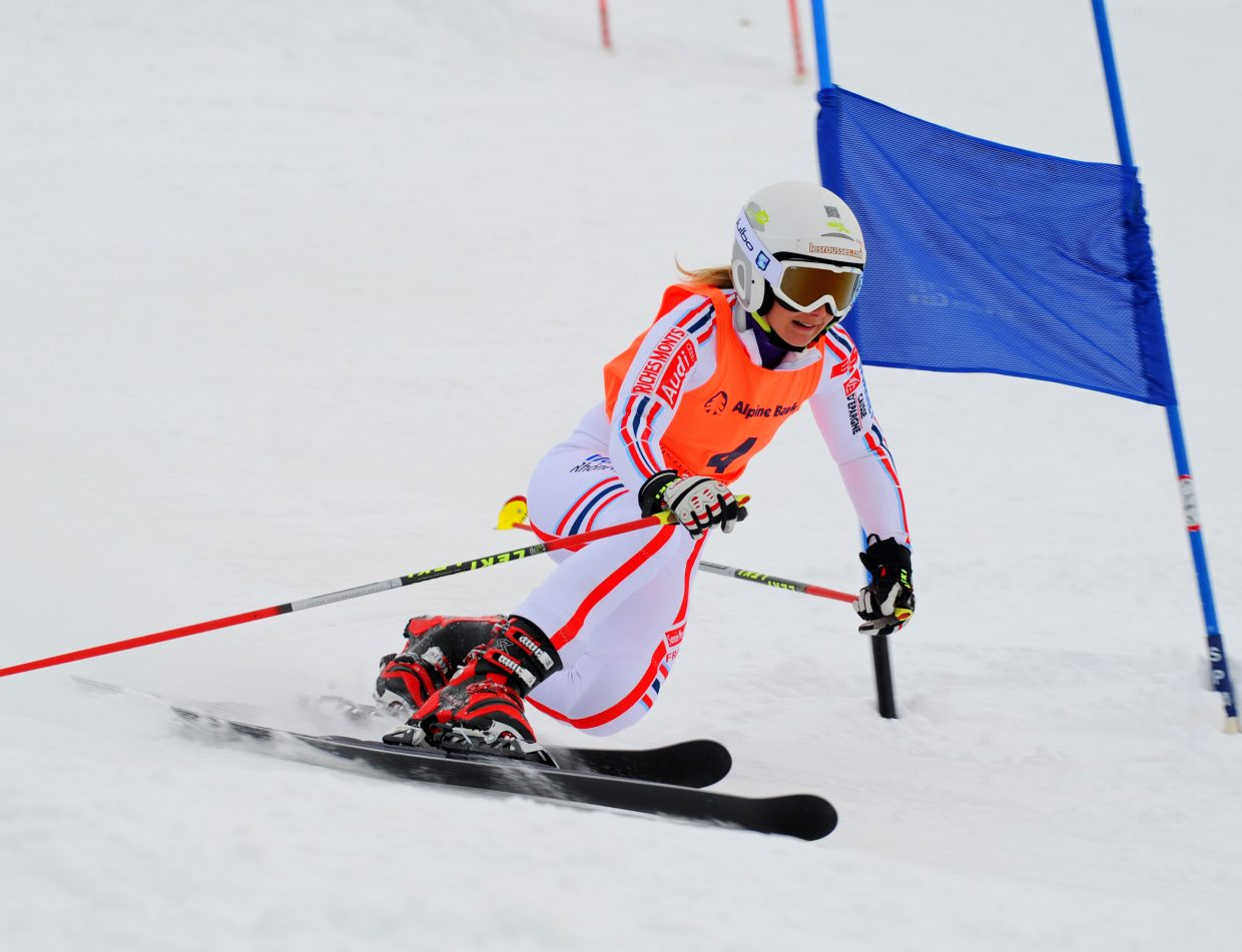 Nolwen Faivre, of France, skis down the Telemark World Cup race course on Monday.