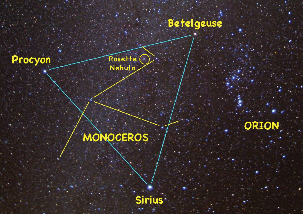 The faint constellation of Monoceros the Unicorn hides within the large triangle formed by the bright stars Betelgeuse, Sirius and Procyon. Use binoculars or a small telescope to see the glowing pink gases of the Rosette Nebula.