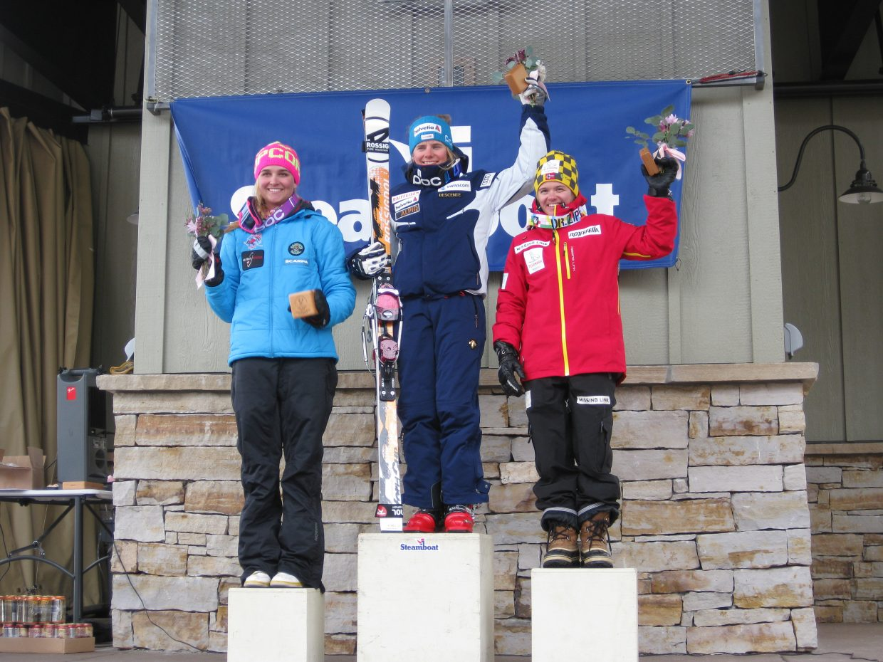 Madi McKinstry, left, of Steamboat Springs, placed third in Monday's World Cup Classic event. In first place was Amelie Reymond, of Switzerland, and Anne Marit Enger, of Norway, took second.