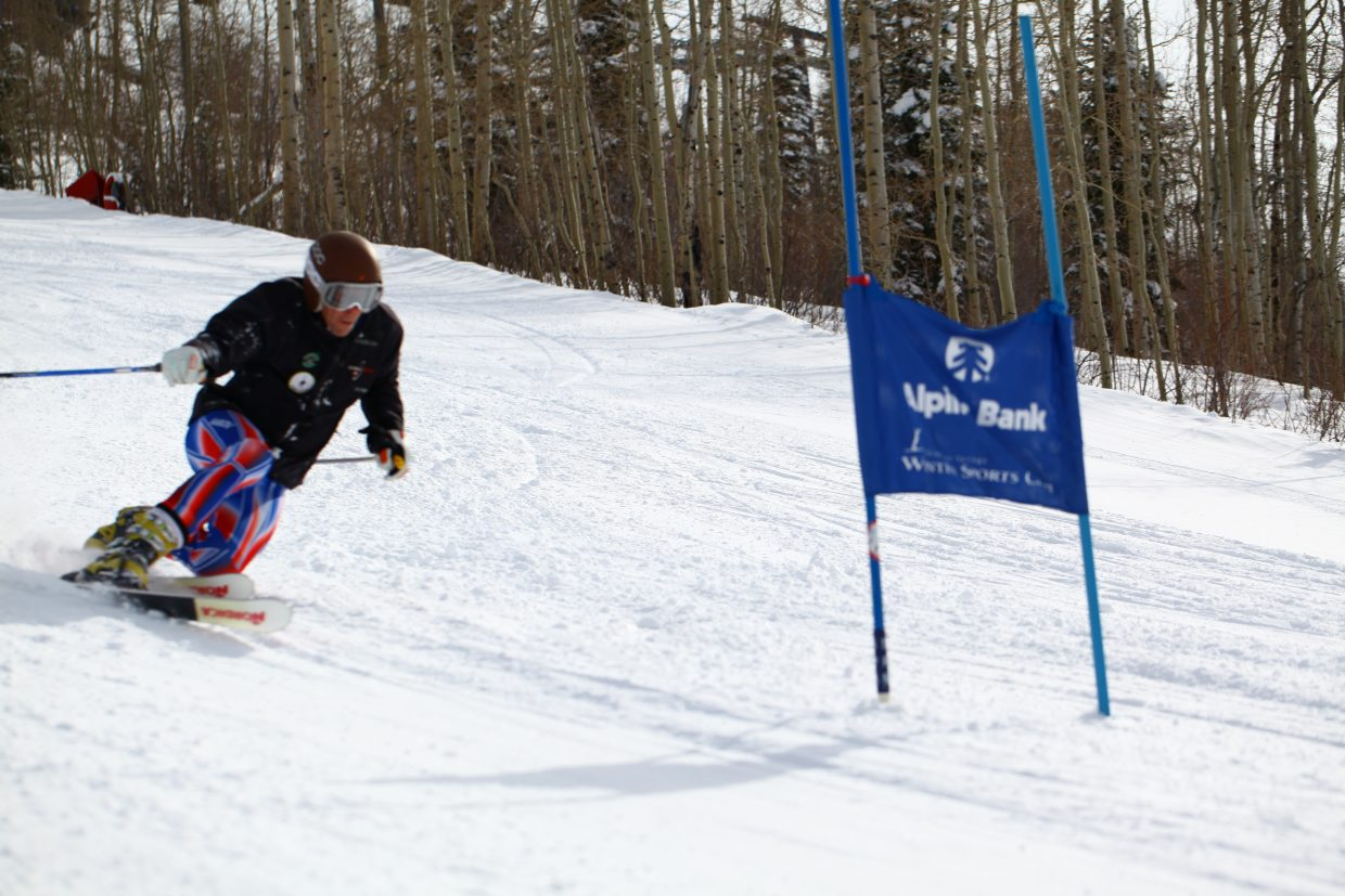 Charlie Dressen flies down the Telemark World Cup course on Monday at Steamboat Ski Area.