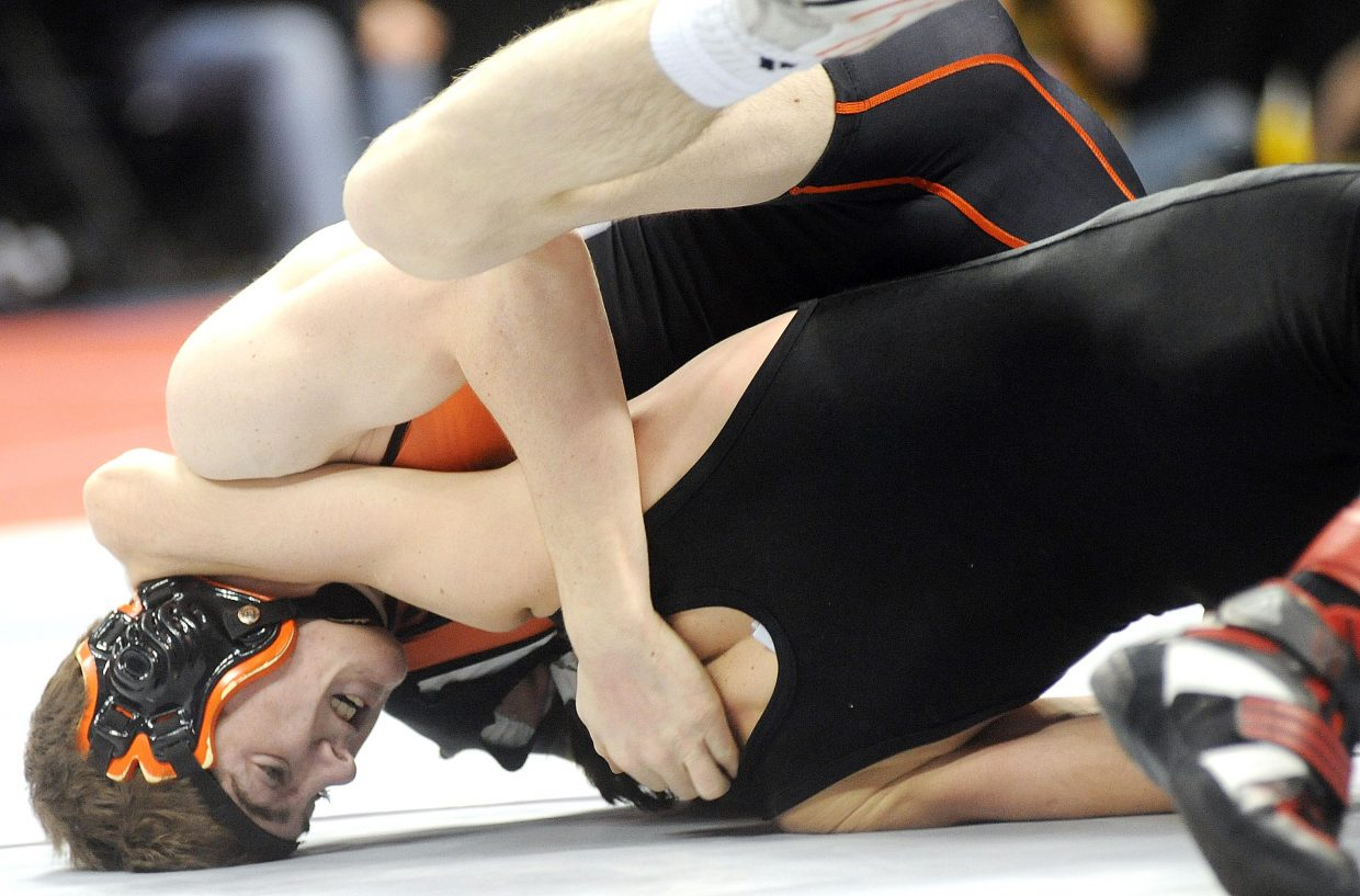 Hayden's Chad Terry wrestles Friday in the quarterfinals of the state wrestling tournament in Denver.