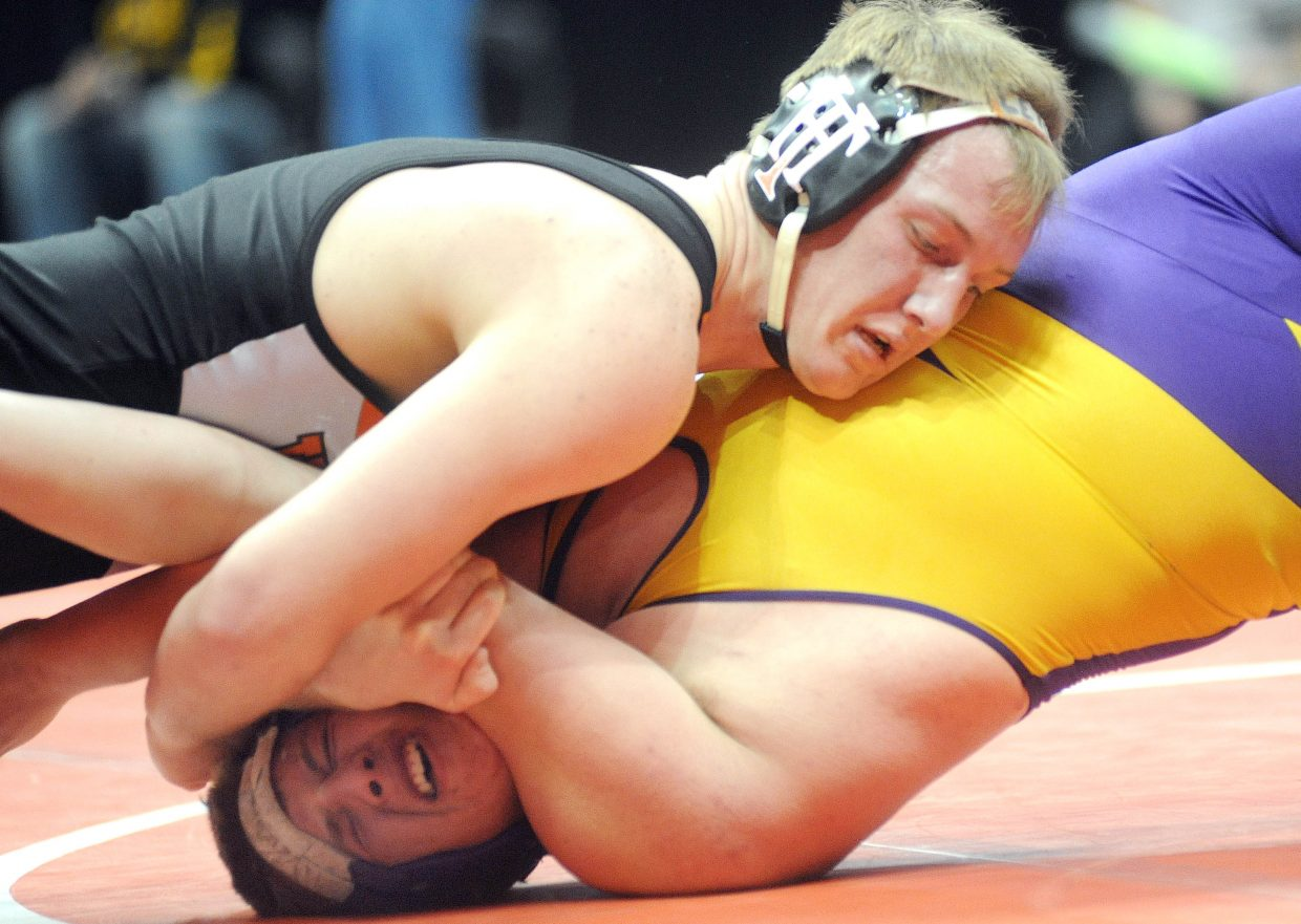 Hayden's Treyben Letlow wrestles on Thursday during the first round of the Class 2A state wrestling tournament in Denver. Letlow won with a second-round pin, pushing his winning streak to 68 matches.