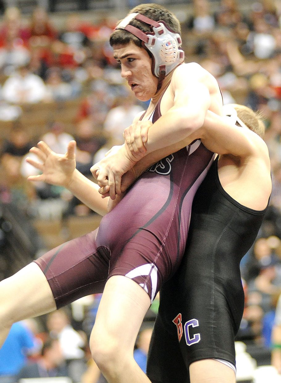 Soroco's Dillon Koler wrestles Thursday during the first round of the Class 2A state wrestling tournament in Denver.