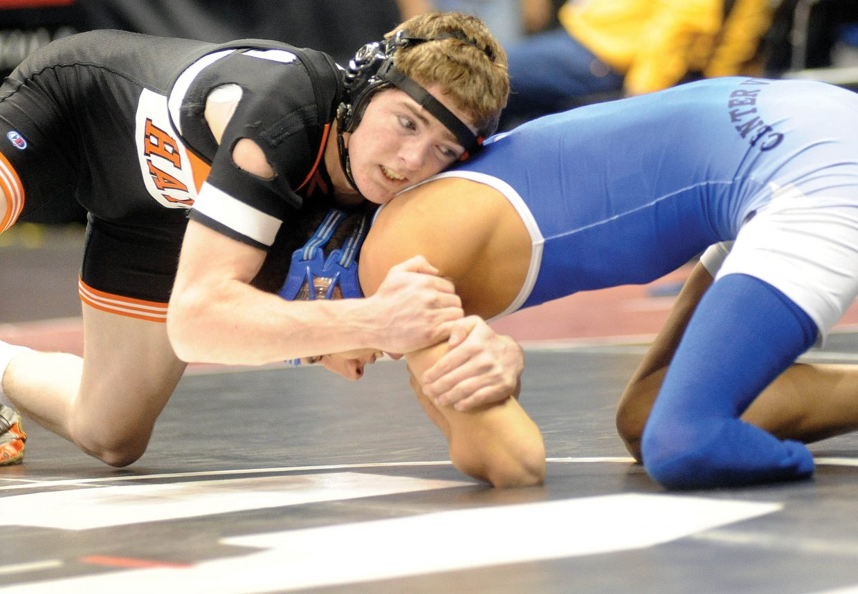 Hayden's Chad Terry wrestles Thursday during the first round of the Class 2A state wrestling tournament in Denver against Diego Pons. Terry won the match, 8-0.