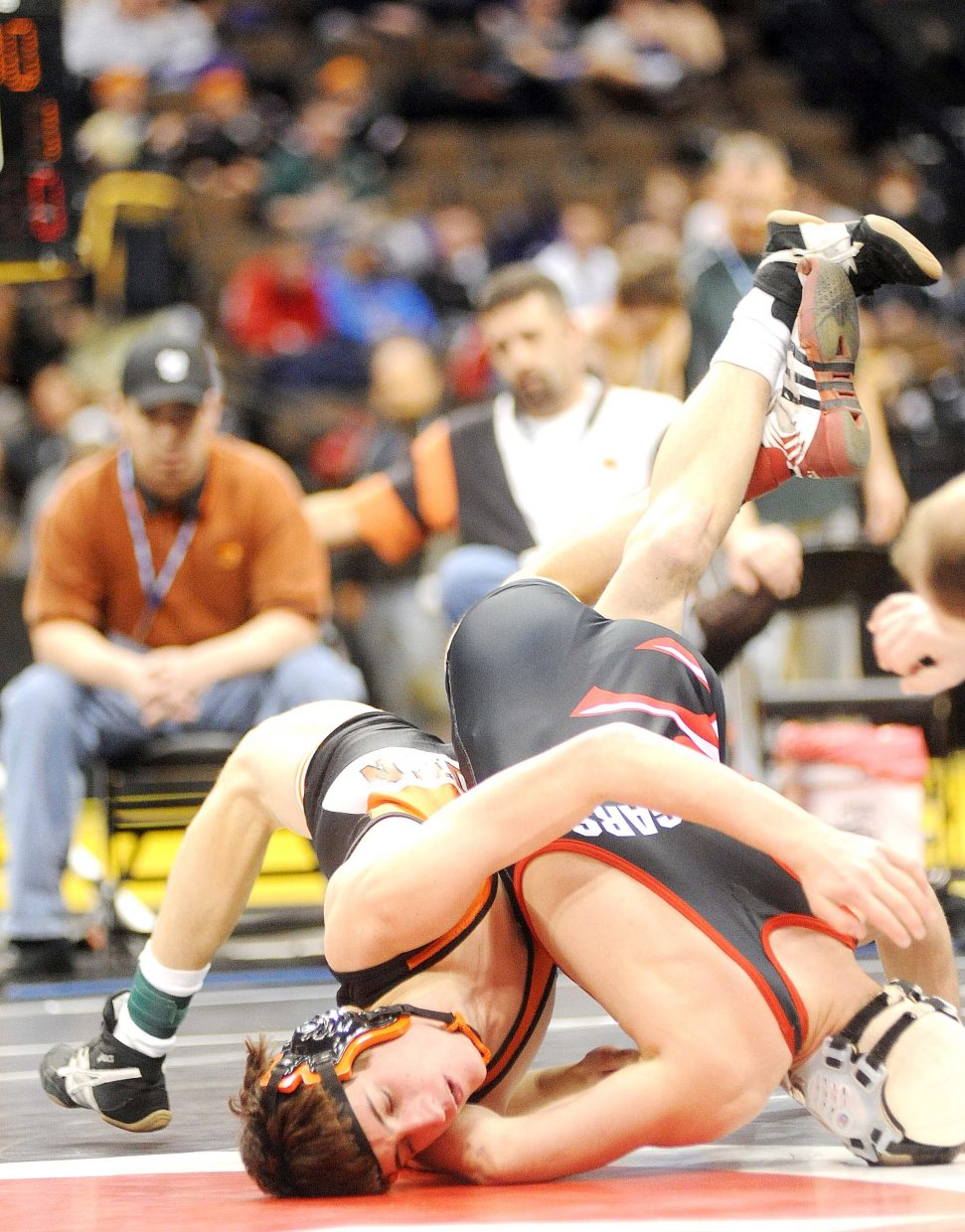 Hayden senior Scott Armbruster wrestles Thursday during the first round of the Class 2A state wrestling tournament in Denver.