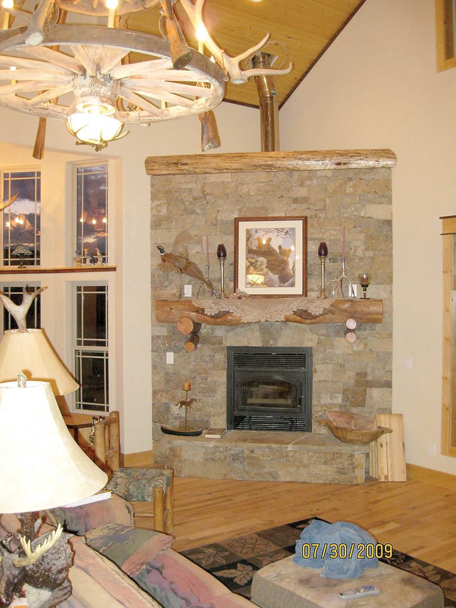 The Trout Creek home features extensive use of log details throughout.