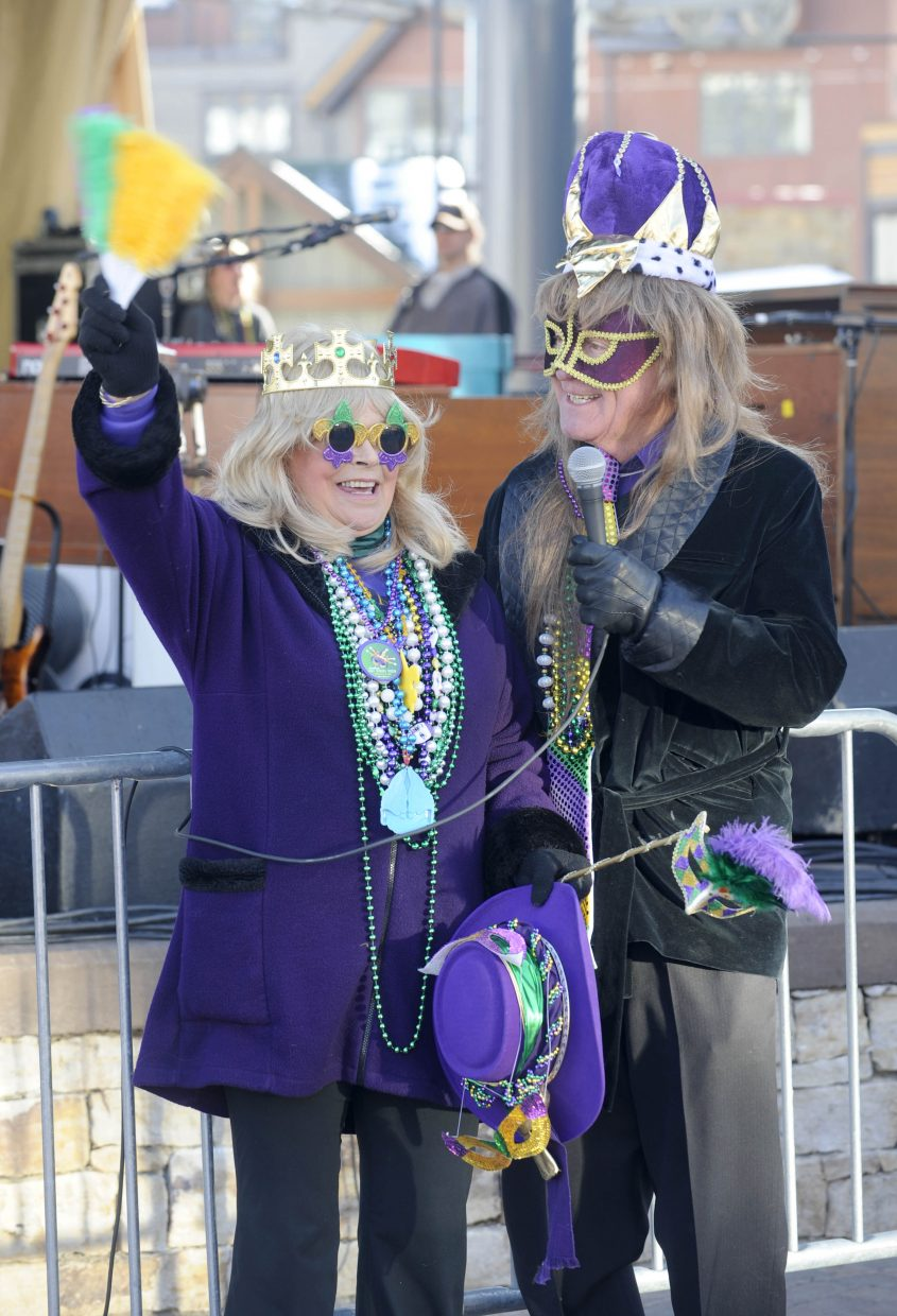 Longtime local couple Karen and Mix Beauvais are crowned the Rex and queen of Ski Mardi Gras in 2012 at Steamboat Ski Area.