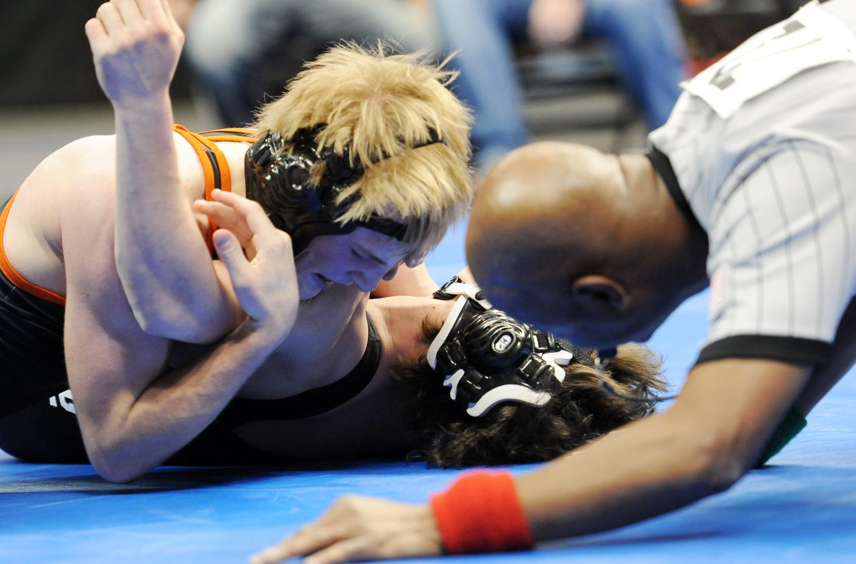 Hayden senior Nick Williams wrestles Saturday at the state wrestling tournament in Denver. He finished fourth at 138 pounds.