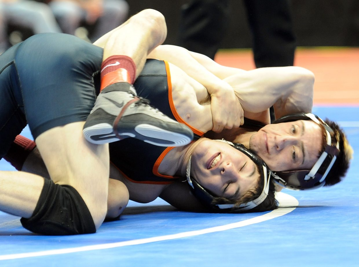 Hayden's T-Lane Mazzola wrestles Saturday at the state tournament in Denver. He finished sixth at 126 pounds.