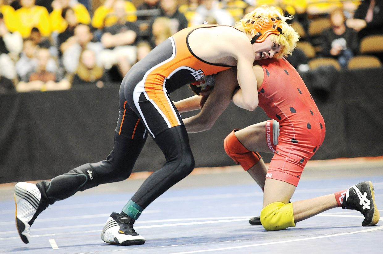 Hayden freshman T-Lane Mazzola wrestles in the 103-pound state championship match Saturday at the Pepsi Center in Denver. Mazzola lost, 7-0.