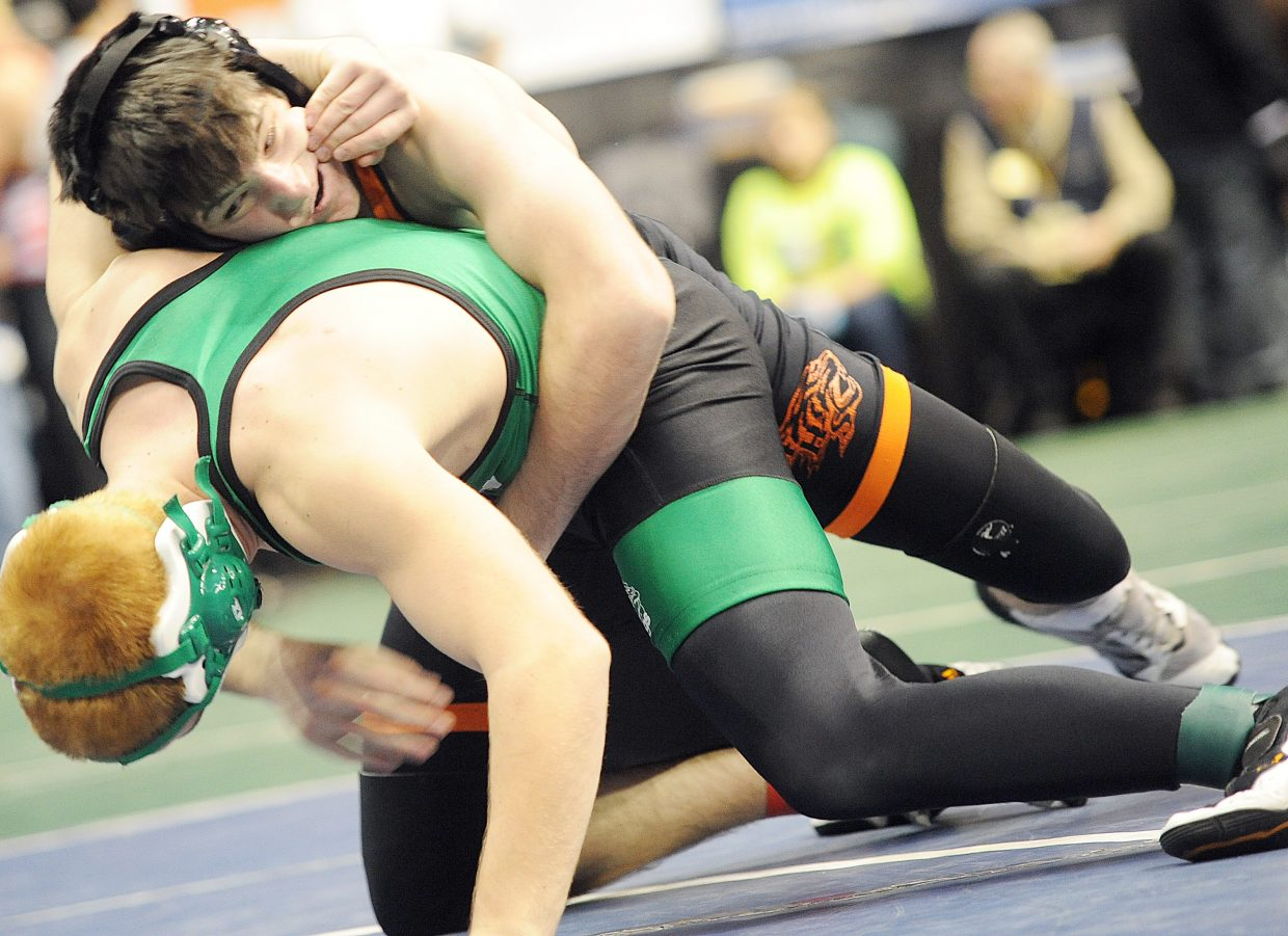 Hayden senior Koleman Williams wrestles Saturday in the consolation bracket of the 152-pound division of the state wrestling tournament in Denver. Williams was sixth in the tournament.
