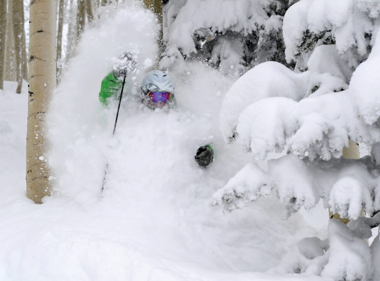 Allen Brando of Steamboat Springs makes tracks through 27 inches of fresh powder snow that fell at the Steamboat Ski Area Sunday and Monday. Ski area officials say it was the biggest 24-hour snowfall total on record at Mount Werner. Photo/Larry Pierce