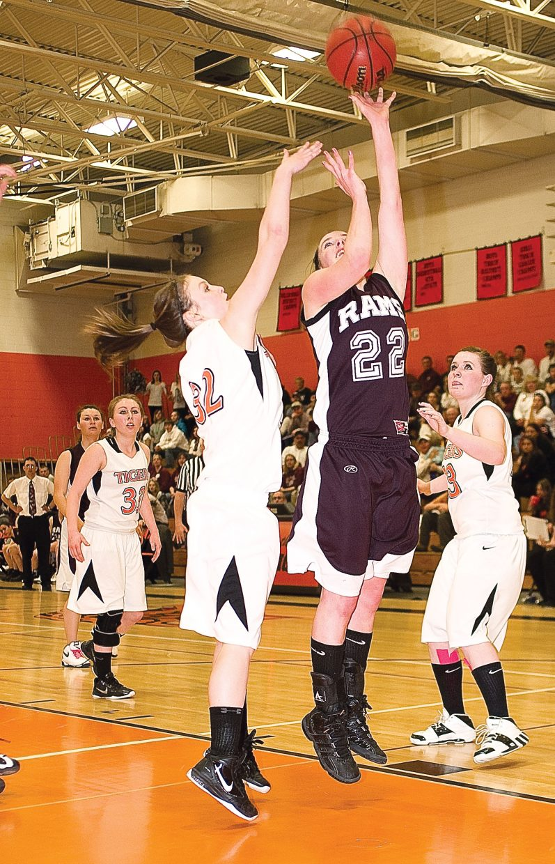 Soroco's Shelby Miles takes a shot in the second half of Tuesday's district playoff game against Hayden. The Rams fell in a heartbreaker, 52-51.