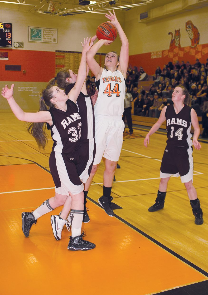 Hayden senior Erin Koehler takes a shot during the first half of Tuesday night's district playoff game against Soroco in Hayden. The Tigers held on in the closing seconds of the thrilling contest to escape with a 52-51 victory.
