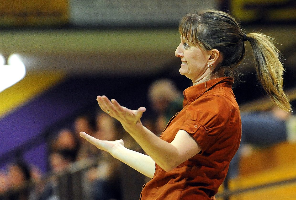 Hayden coach Michelle Wilkie looks for a foul call Friday as her Tigers played Paonia.
