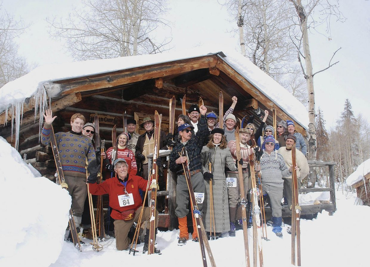 Wooden ski enthusiasts show off their gear during the 2010 Wooden Ski Rendezvous at Columbine Cabins.