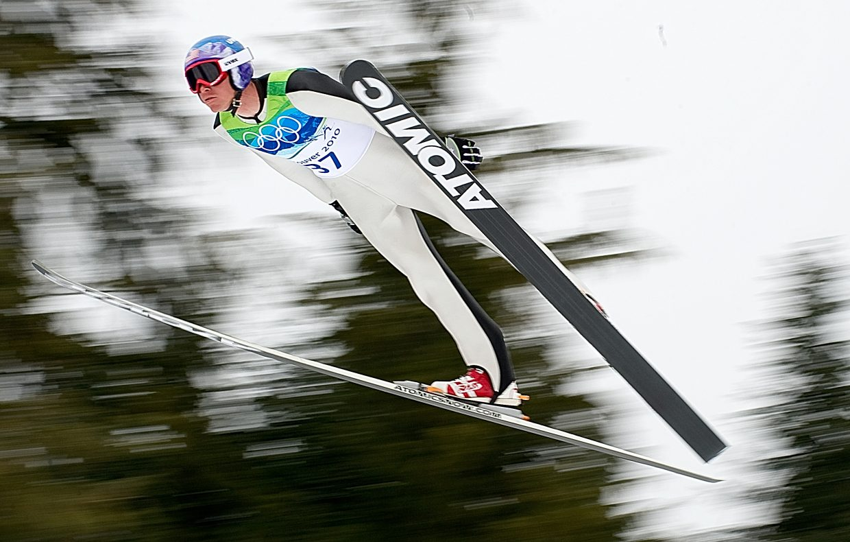 U.S. Nordic combined skier Billy Demong flys off the jump at Whistler Olympic Park today during the large hill Nordic combined indiviudal event. Demong finished in sixth place after the jumping portion, which meant he started the cross-country race 46 seconds behind the leader. He worked his way up to first and will take home the gold medal.