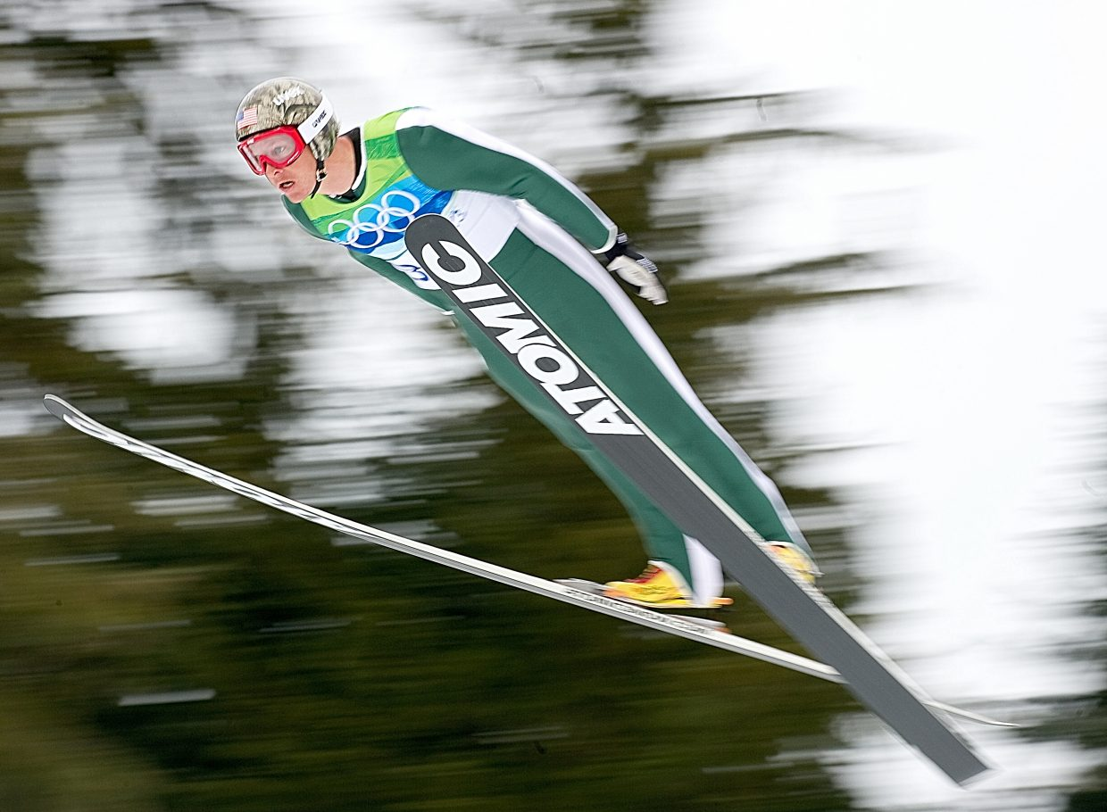 Steamboat Springs Todd Lodwick jumps in today's Nordic combined individual large hill event at Whistler Olympic Park in British Columbia. Lodwick finished in a tie for 13th in the jumping portion and started the cross-country race 1 minute and 13 seconds behind the leader.