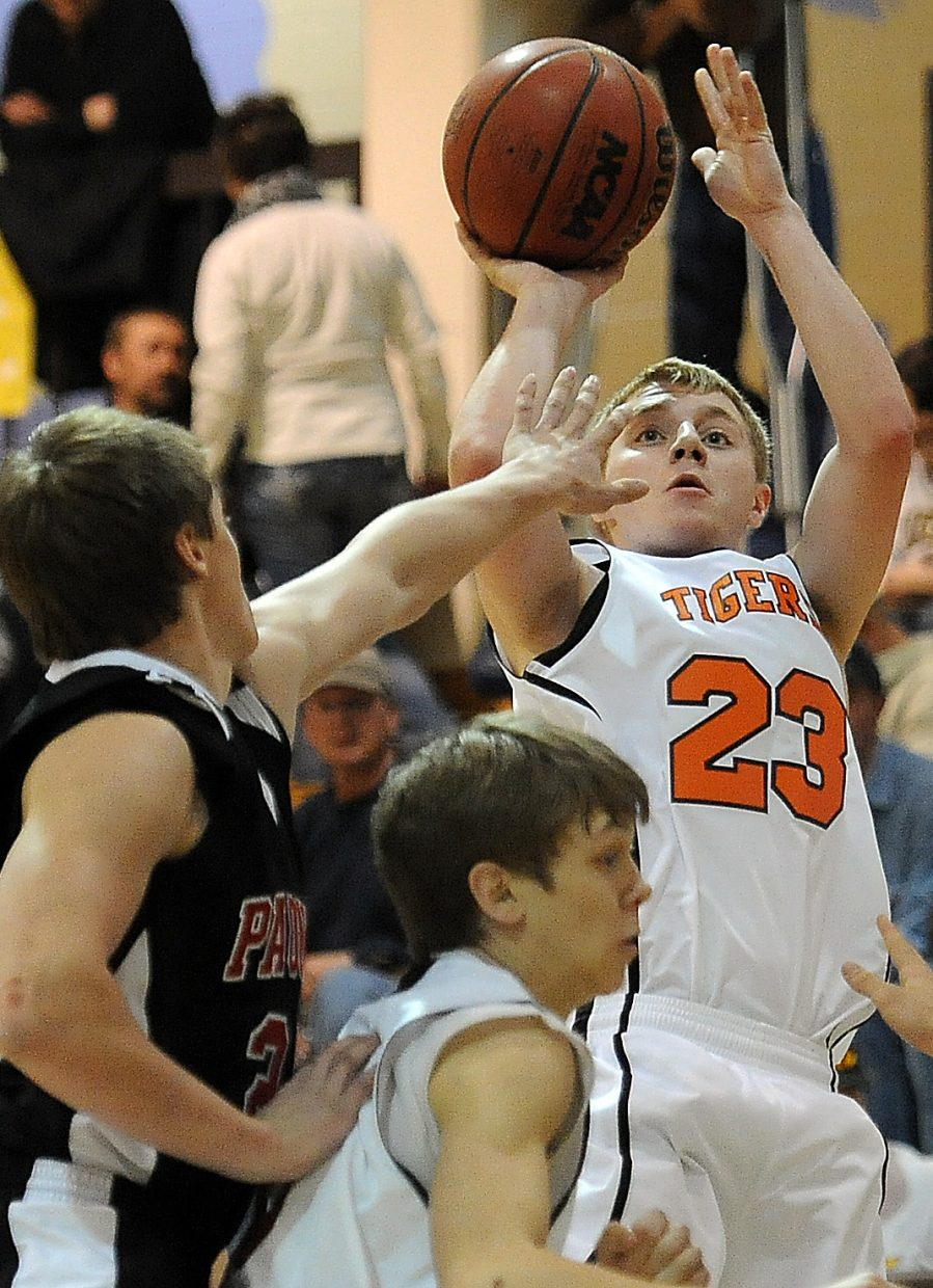 Hayden's Austin Piper pops off a shot Saturday during the district tournament in Kremmling.
