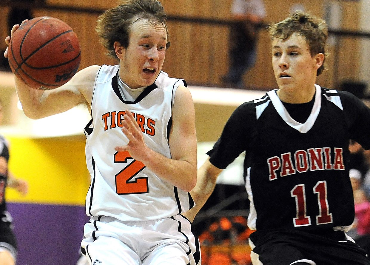 Hayden's Hunter Johnston drives for the hoop Saturday at the district basketball tournament in Kremmling