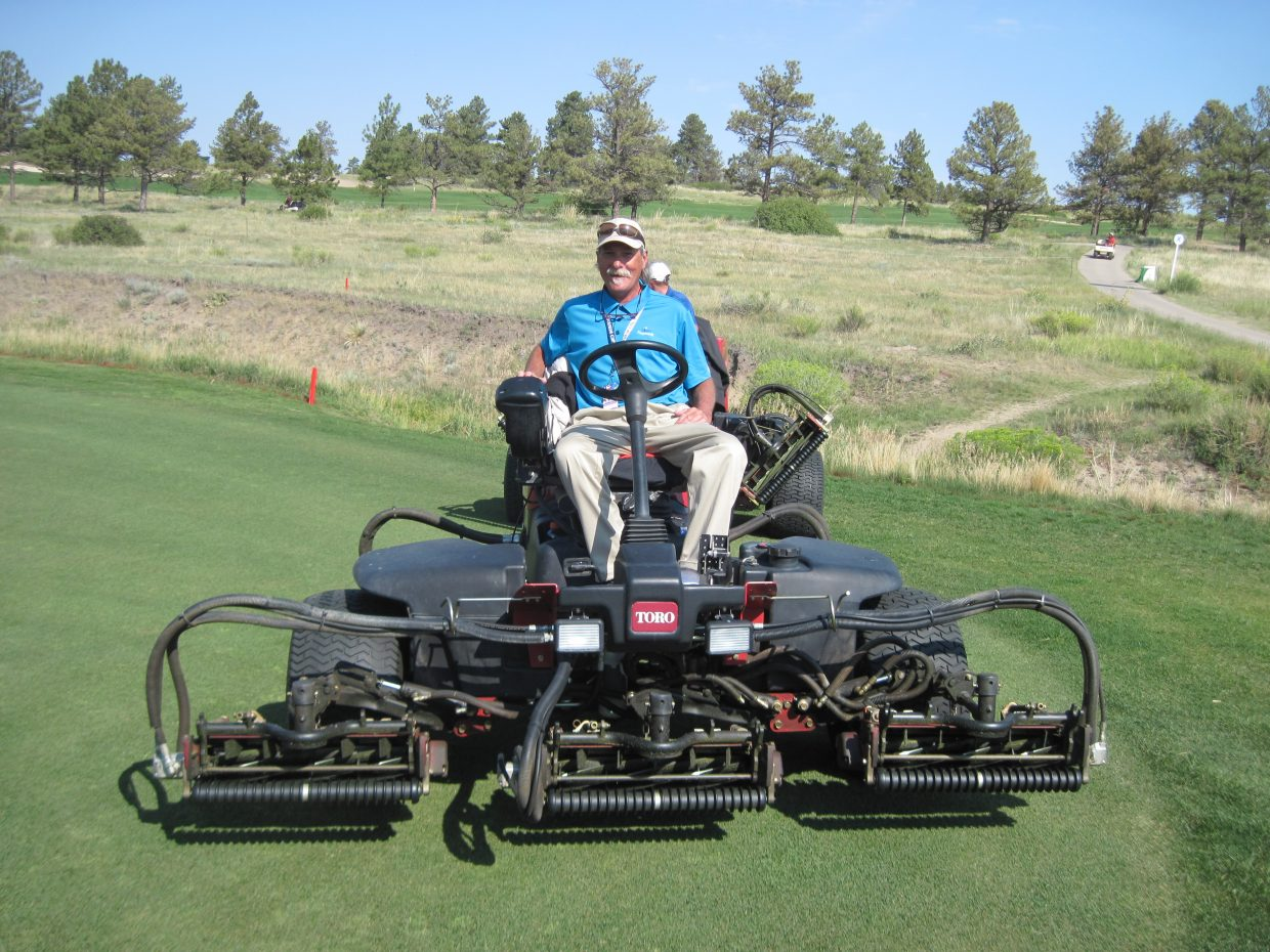 Tim Davidson mowing fairways at the Solheim Cup in Colorado. Submitted by: Tim Davidson