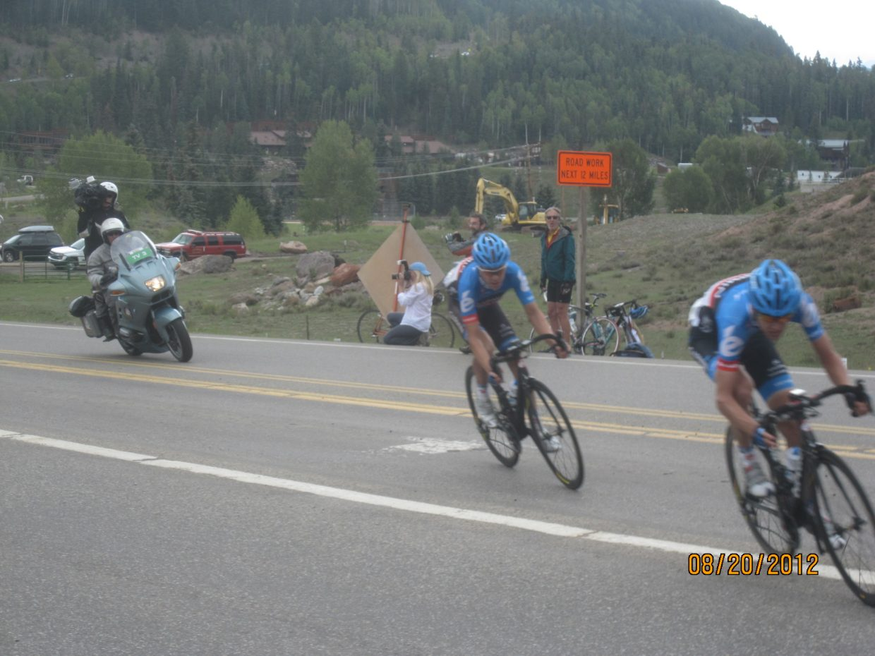 Leaders on pro tour riding into Telluride with my friends in background. I'm a summer resident in Steamboat at Bear Lodge. Submitted by: Bruce Carlock
