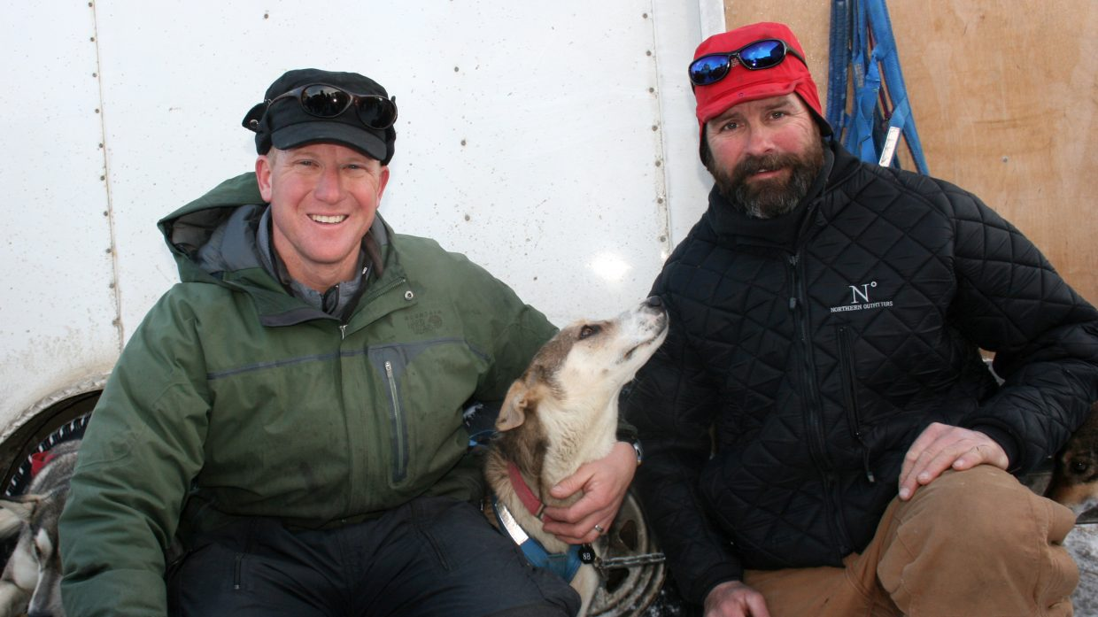 Kris Hoffman, left, and Tom Thurston competed in the Iditarod race this year in Alaska.