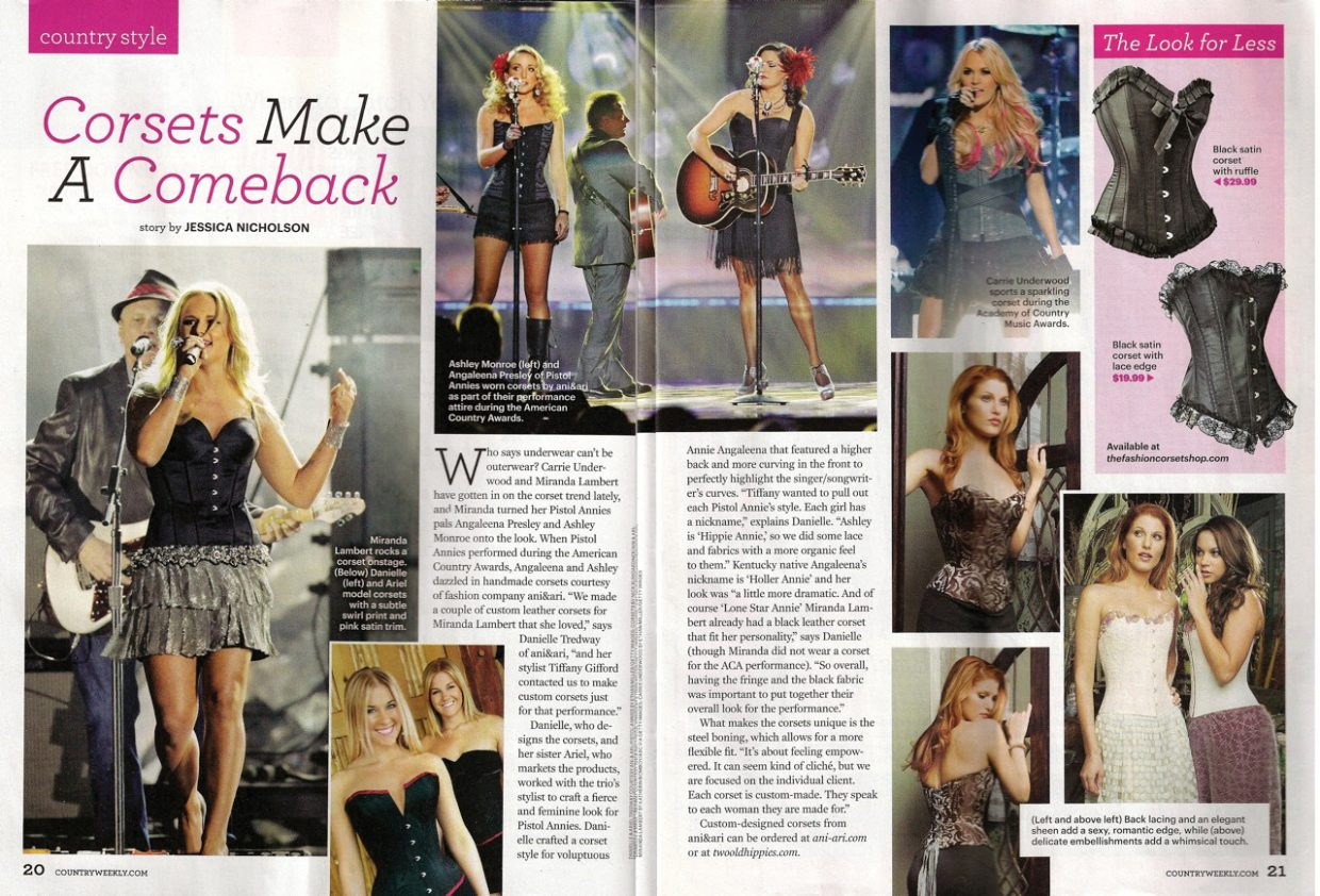 Steamboat natives Danielle and Ariel Tredway, bottom left, were featured in the March 5 edition of Country Weekly magazine for their custom made corsets.