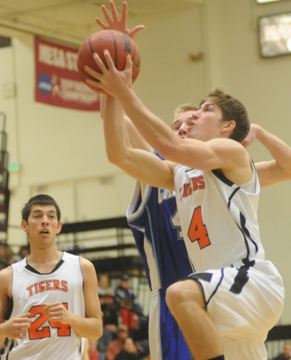 Hayden's Graig Medvesk goes up for a shot Saturday in the regional championship game in Grand Junction.
