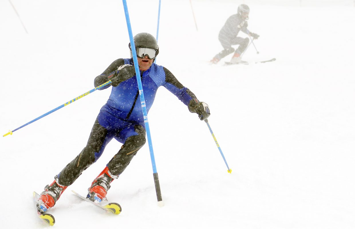 Billy Arnone flies down the course at the Dick Haller Memorial Slalom race Sunday.