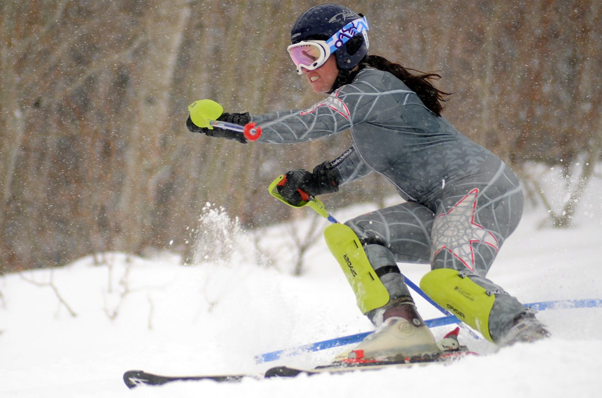 Traci Allen skis Sunday during the Dick Haller Memorial Slalom race in Steamboat Springs.