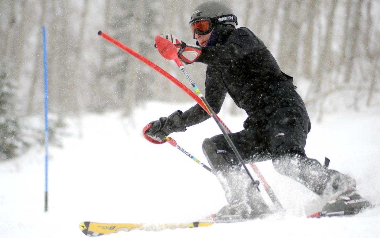 Jerry Taylor skis Sunday during the Dick Haller Memorial Slalom race in Steamboat Springs.