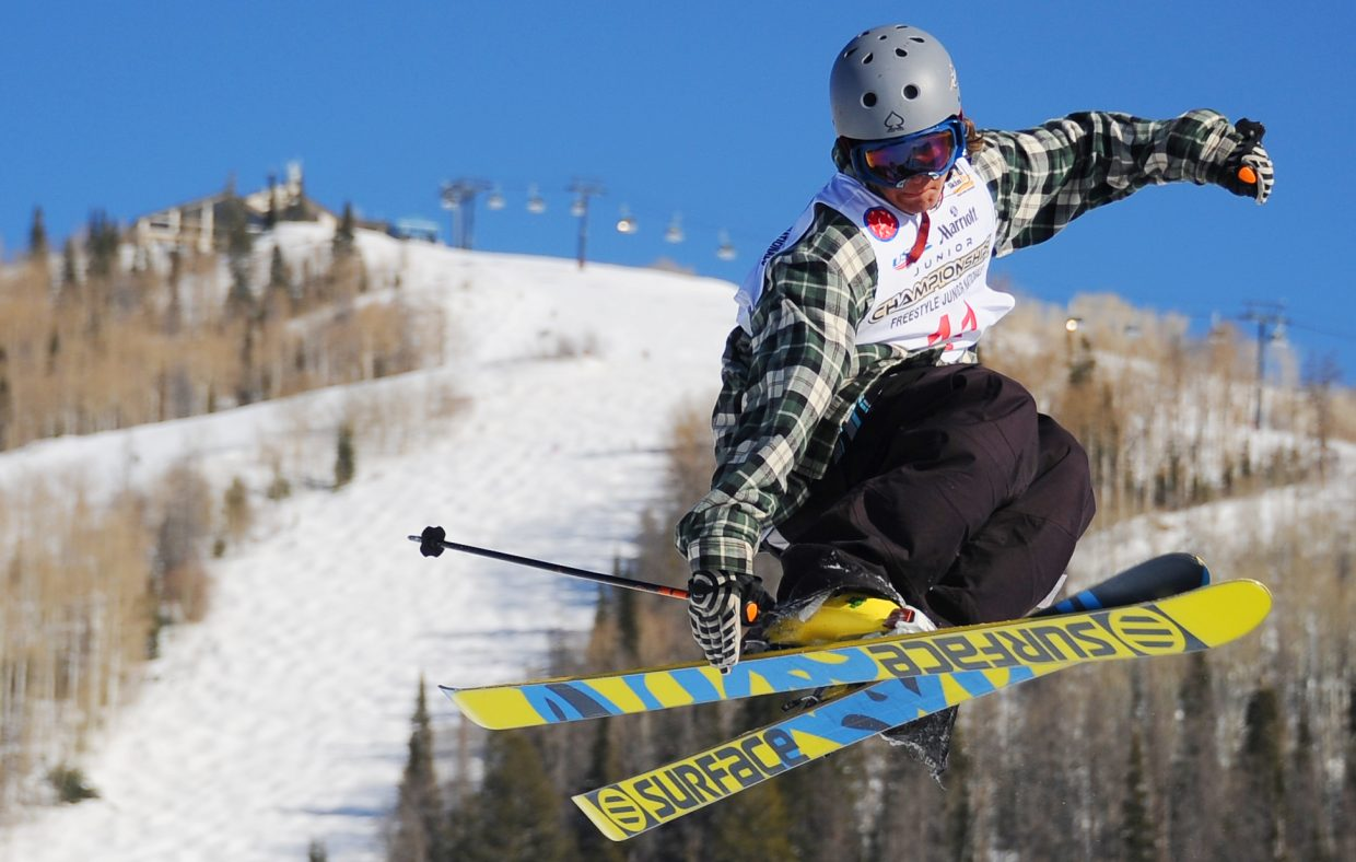 Chase Mohrman, of Waterville Valley, N.H., flies over Bashor Bowl at Steamboat Ski Area on Thursday during the slope-style competition at the Freestyle Skiing Junior National event in Steamboat Springs. Mark Nowakiwsky, of Breckenridge, won the men's side while Maggie Voisin, of Montana, won the women's.