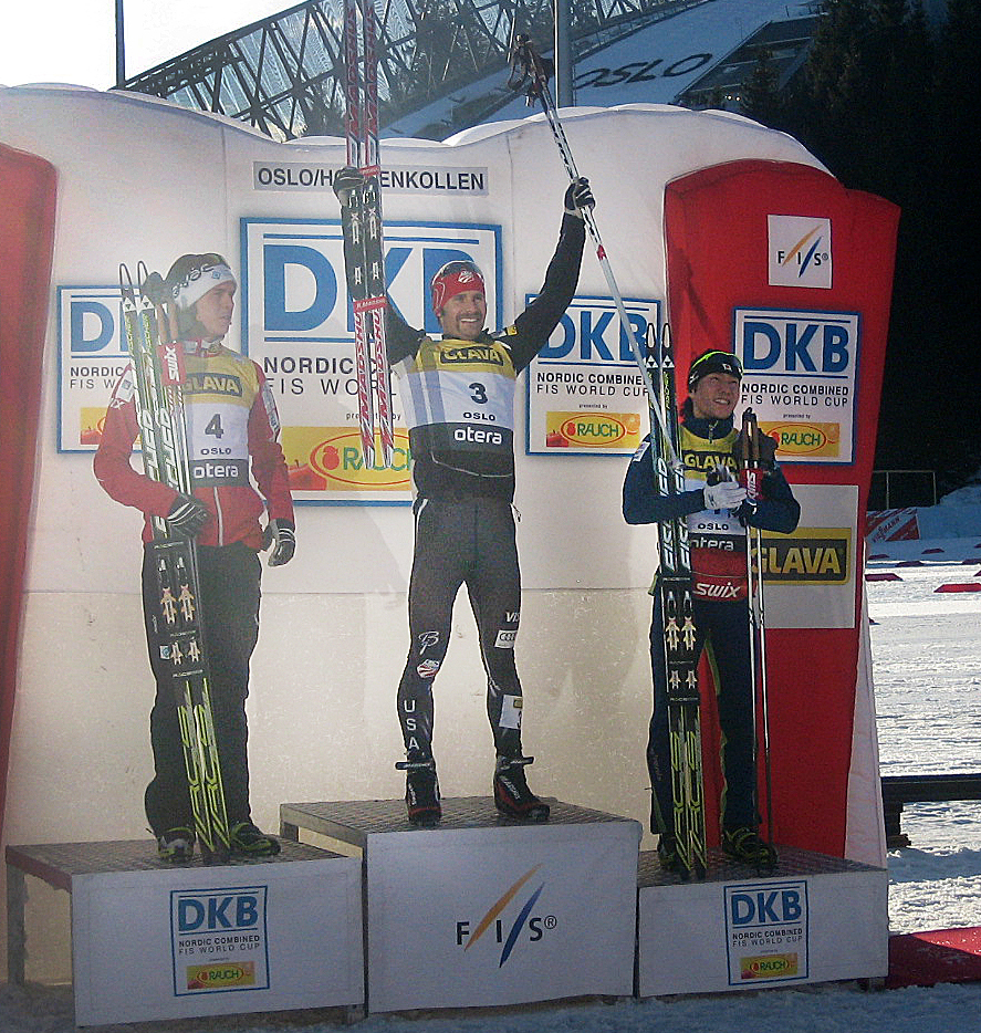 Steamboat's Bryan Fletcher, center, celebrates his win Saturday in the prestigious Holmenkollen Ski Festival Nordic Combined World Cup in Oslo, Norway. It was Fletcher's first career World Cup win, and it came on the one of his sport's biggest stages.