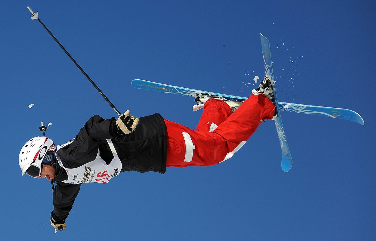 Jack Kariotis flies on Friday during the Freestyle Junior Nationals moguls competition at Steamboat Ski Area.