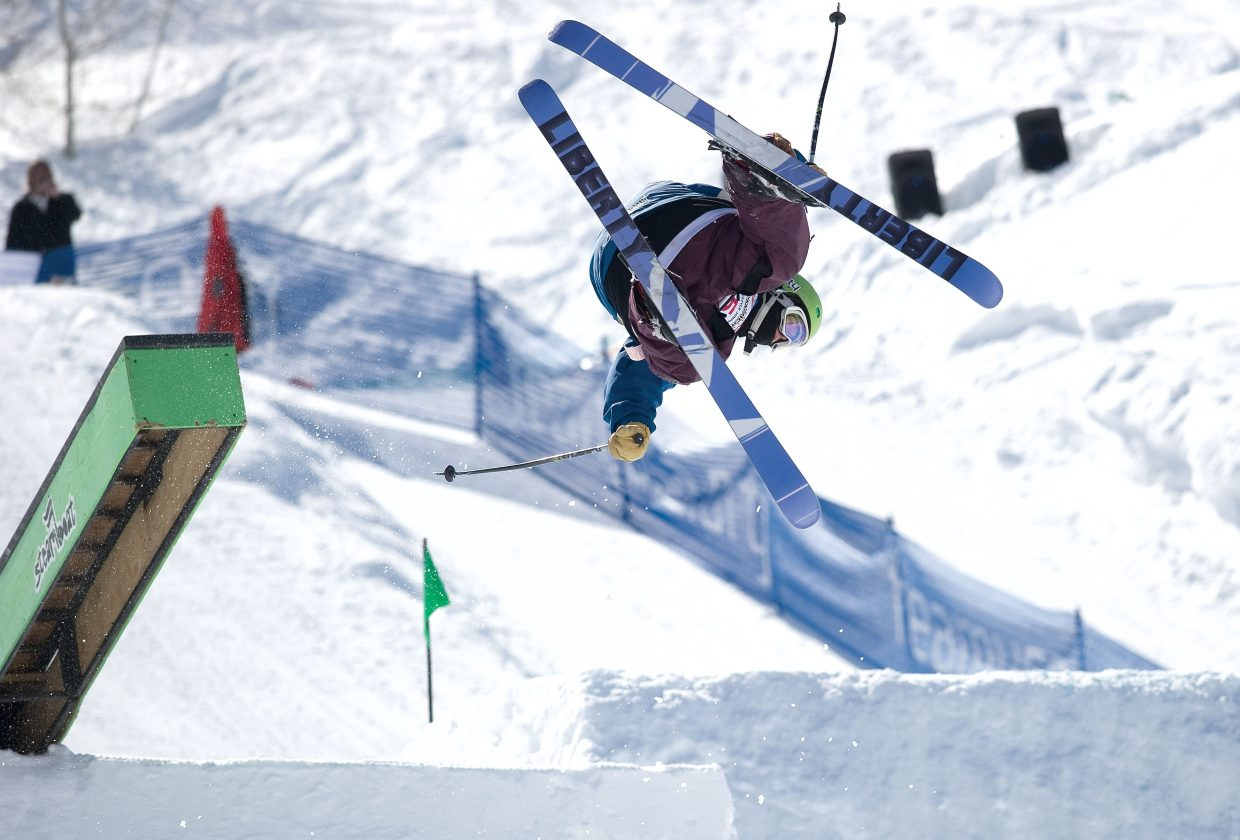 John Bodeau looks to land a trick off the rail on the slopestyle course at Steamboat Ski Area on Thursday. Bodeau was competing in the Freestyle Junior Nationals, which is taking place in Steamboat Springs this week. The competition will continue today on Mayer's Mogul Run on Voo Doo ski run.