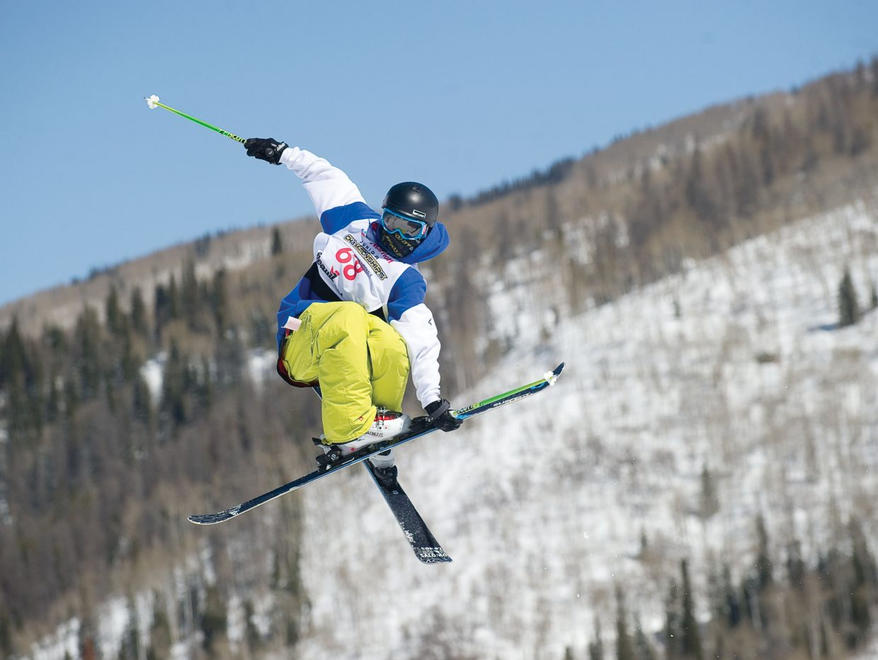 Central division skier Kieran Rettler hits a kicker during the Freestyle Junior National slopestyle competitions on Thursday at Steamboat Ski Area.