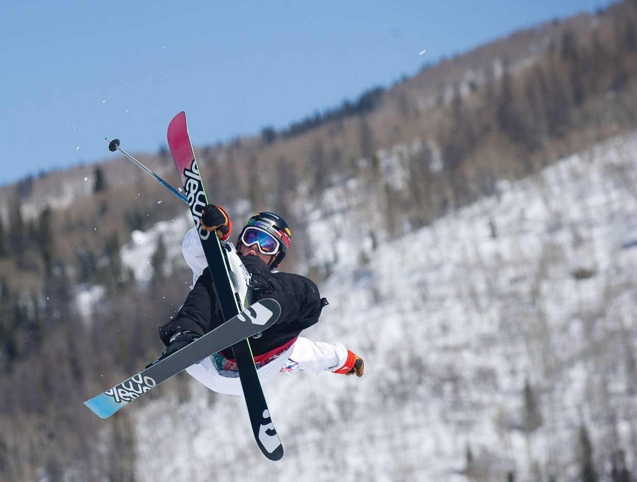 Minnesota skier Andrew Furin hits the top kicker during the Junior National Slopestyle championships at Steamboat Ski Area on Thursday.