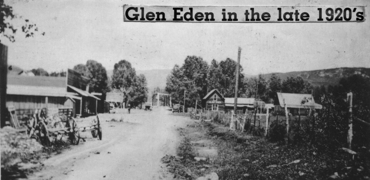 A view of Glen Eden, on the left, in 1922 when Elk River Road was a dirt track. The bridge is visible in the scene. Glen Eden originally was a stagecoach stop on the way to the Hahn's Peak gold fields.