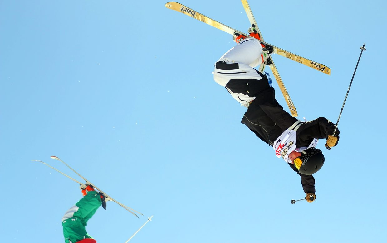 Michael DeGrandis flips off the bottom air at Sunday's dual mogul Freestyle Junior Nationals event in Steamboat Springs. He won the event.