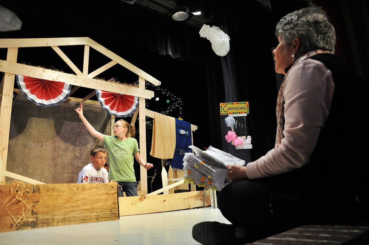 "Kathy Deepe directs Hayden students Liam Frentress, left, and Hannah Wilkie on Tuesday during a rehearsal of ""Charlotte's Web."""