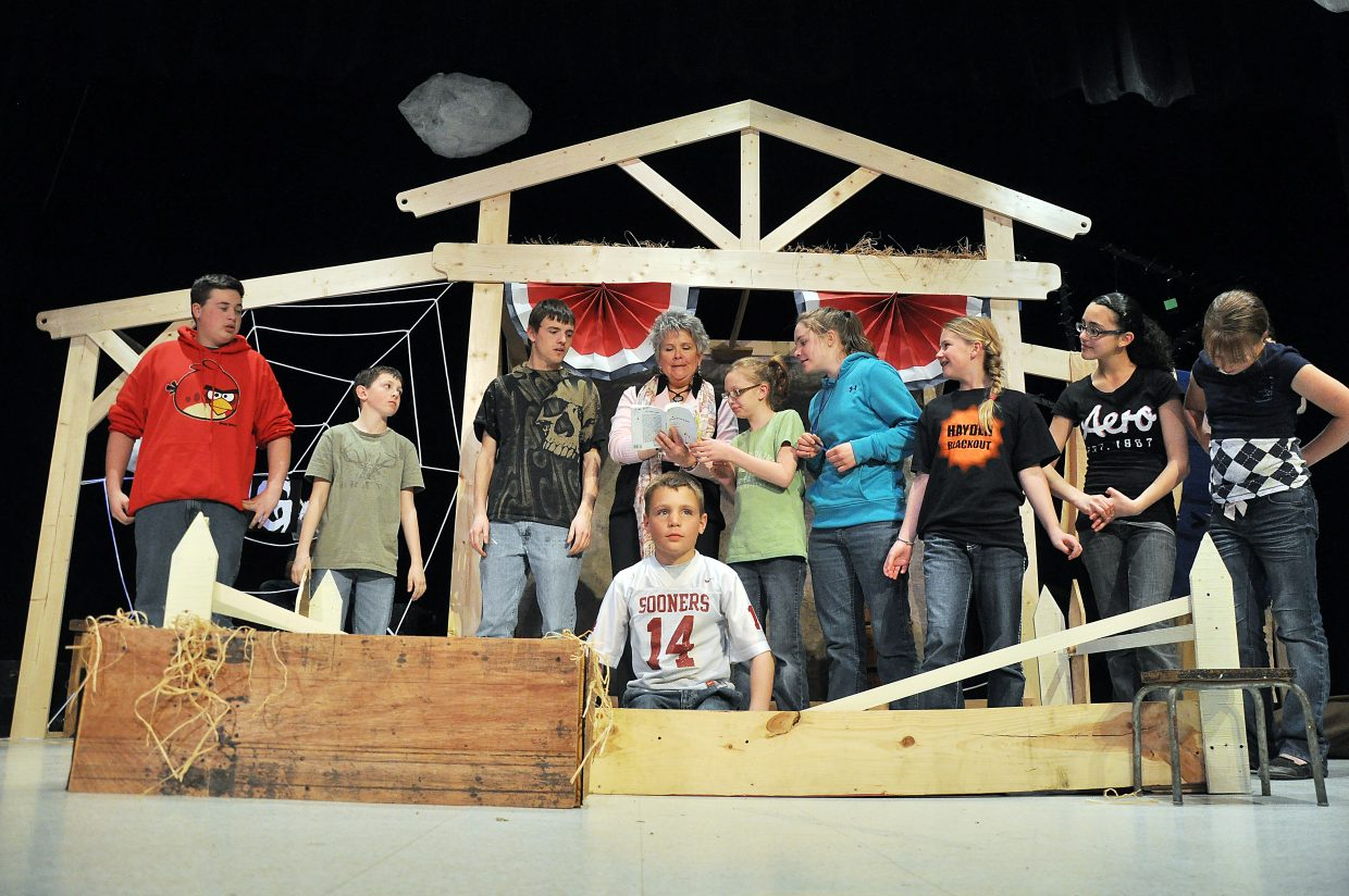 "Hayden students rehearse their production of ""Charlotte's Web"" on Tuesday at Hayden High School. The play opens to the public Friday at 7 p.m."