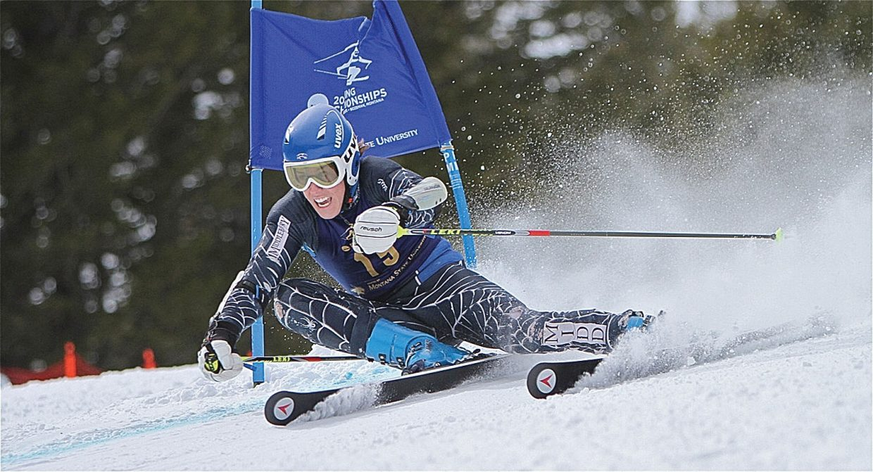 Steamboat Springs' Hig Roberts rips a turn at the NCAA Championships last week. Roberts, skiing for Middlebury College, finished fifth in the giant slalom. The finish earned Roberts All-American status.