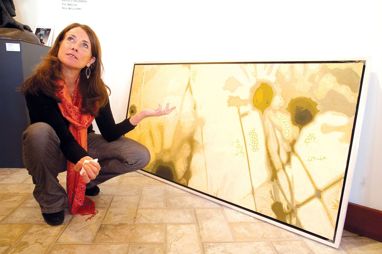 Diane Cionni discusses her mixed media artwork at RED Contemporary gallery on Tuesday where she will be featured through the end of the ski season. RED will host an opening for Cionni and gemstone scultpor Perry Brent Davis tonight from 4 to 7 p.m. during the WIld West Wednesday event at Steamboat Mountain Village.