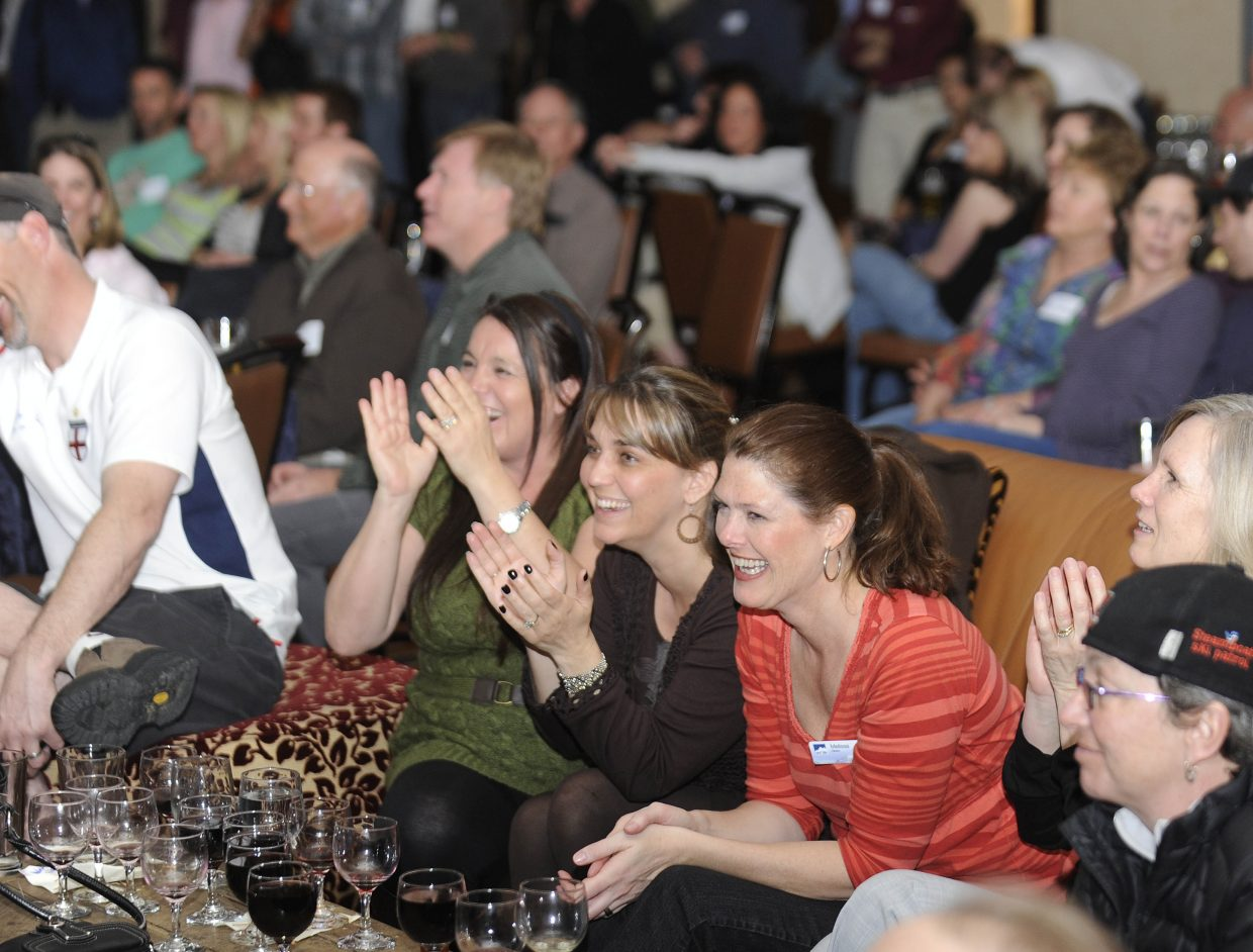 Best of the Boat party attendees, from left, Di James, Keri Couchoud and Melissa Gibson react to the awards presentation Thursday night at the Sheraton Steamboat Resort.